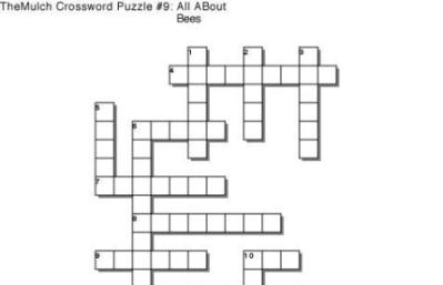All About Bees Crossword Puzzle